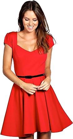 Rouge Lara Robe Patineuse A Encolure En Cœur 18 Amazon Fr Vetements Et Accessoires