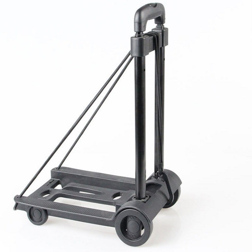 Portable Folding Push Truck Trolley Luggage Cart, Flatbed Dolly Hand Collapsible Traveling Shopping Moving (2 Wheels)