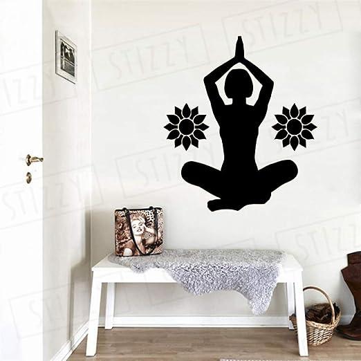 xingbuxin Tatuajes de Pared Lotus Yoga Pose Vinilo Pegatinas de ...