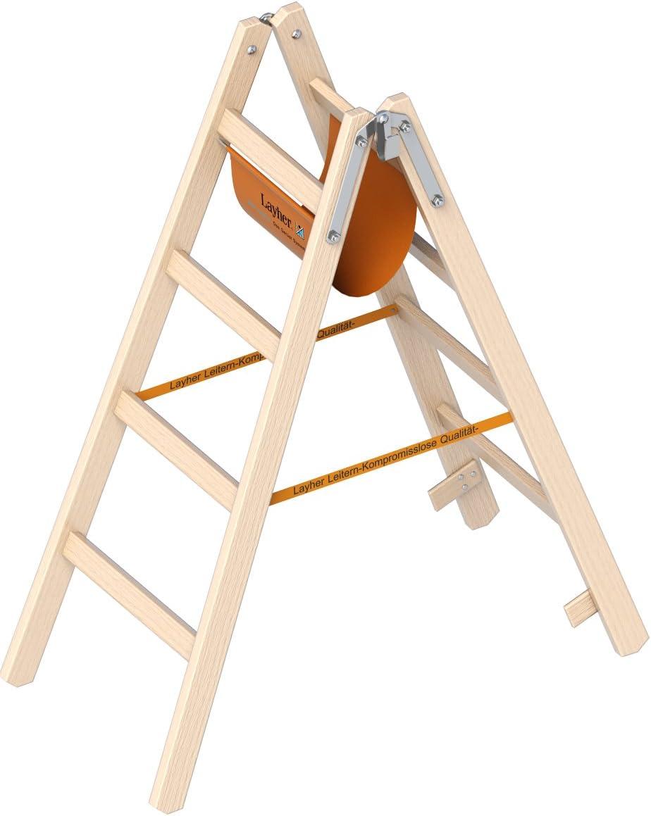 Madera escalera de tijera Layher el Ö-Norm 1053 4 Layher Altura de trabajo de 2,55 m: Amazon.es: Bricolaje y herramientas