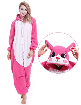 a52231ffee1c Adult Rabbit Animal Onesies Bunny Cosplay Costume Pajamas Halloween  Costumes for Men Women Pink