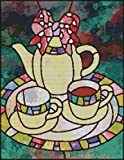 """Goldmilky Cross Stitch Kit Stained Glass Tea for Two 12 X 16"""""""