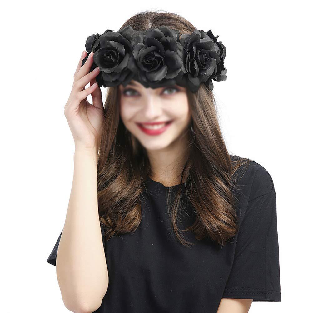 Lurrose Gothic Black Rose Flower Headband Adjustable Floral Wreath