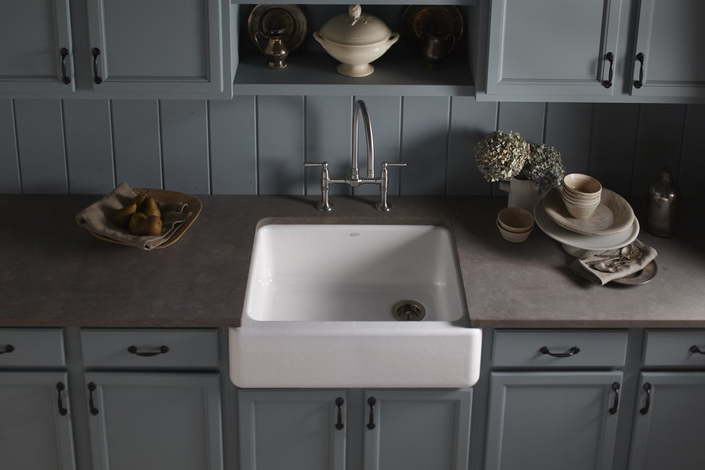 Kohler K-6487-96 Whitehaven Self-Trimming Apron Front Single Basin Kitchen  Sink with Tall Apron, Biscuit - Single Bowl Sinks - Amazon.com