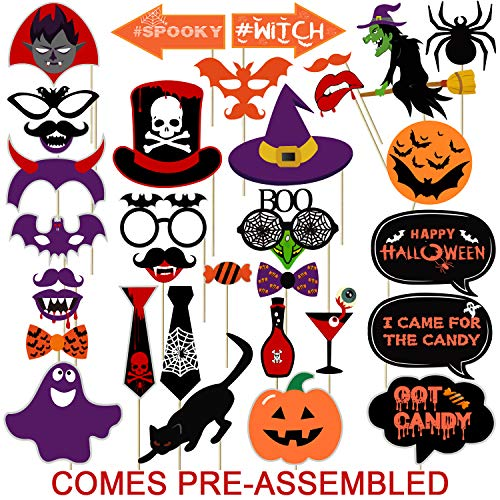 Funny Halloween Photos (Halloween Photo Booth Props Kit | Happy Halloween Photo Props | No DIY Required | Large Size, 33)