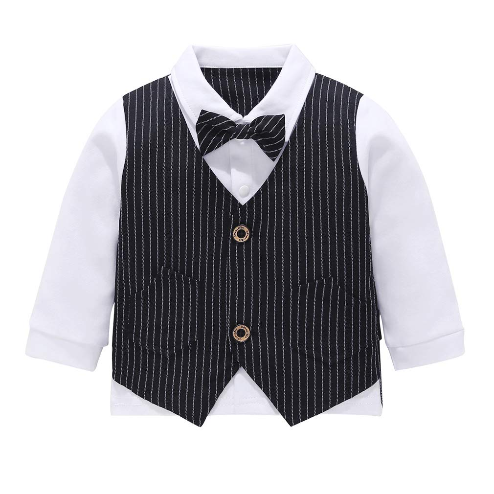 MetCuento Baby Boys Gentleman Formal Outfits Suits Bow Ties Shirts Vest Pants Toddler Wedding Clothes Sets