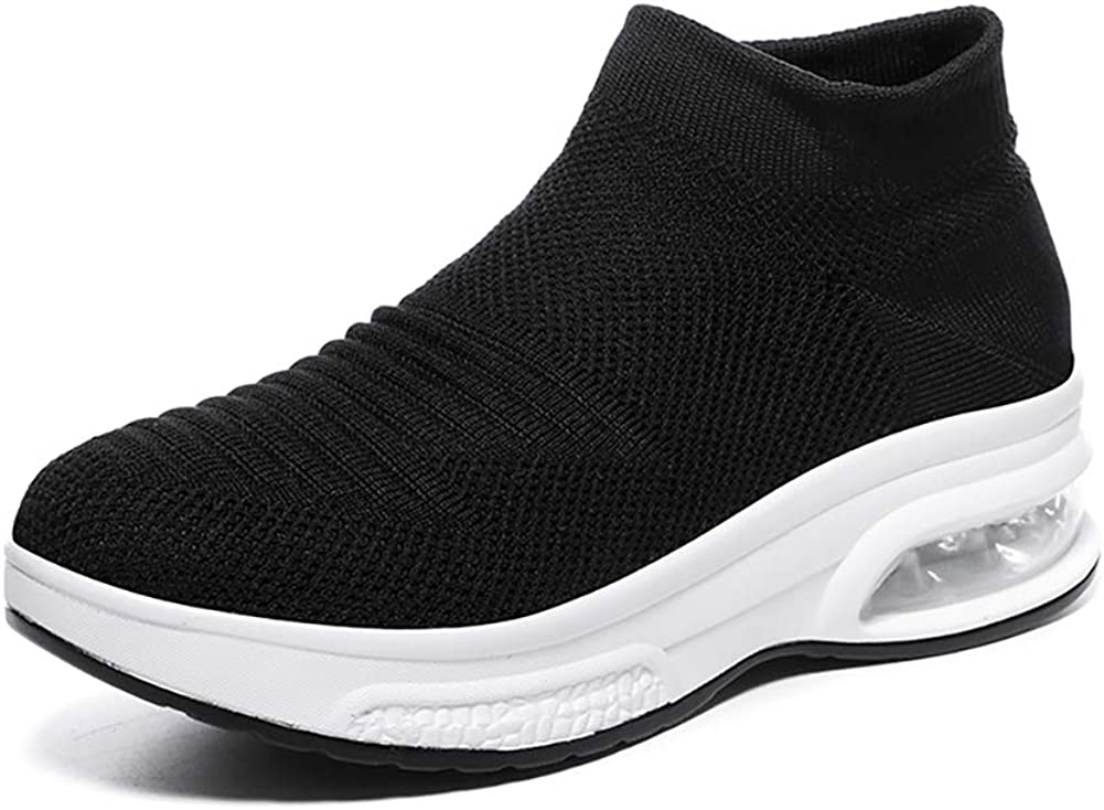 Womens Walking Shoes Lightweight Slip On Wedge Trainers