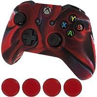 Cubierta protectora de la piel de silicona para XBOX un controlador [camuflaje rojo + cápsulas rojas]