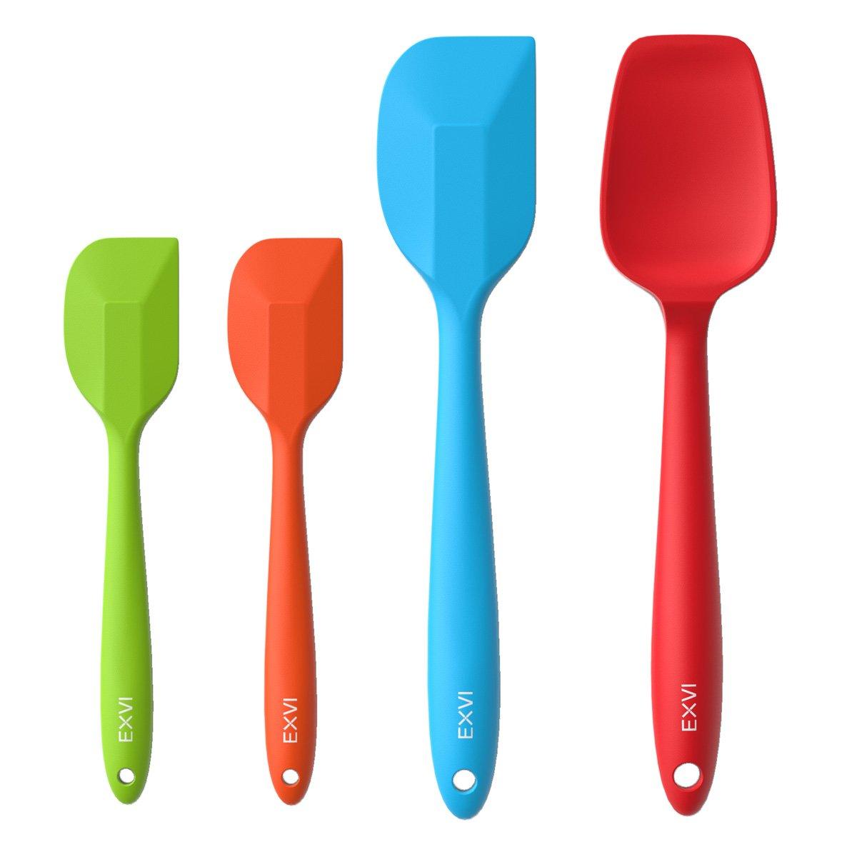 EXVI Flexible Silicone Spatula Cooking Utensil Kitchen Gadgets with 3-Piece Heat Resistant Silicone Rubber Spatula Scraper and 1-Piece Non-stick Silicone Spoon Set