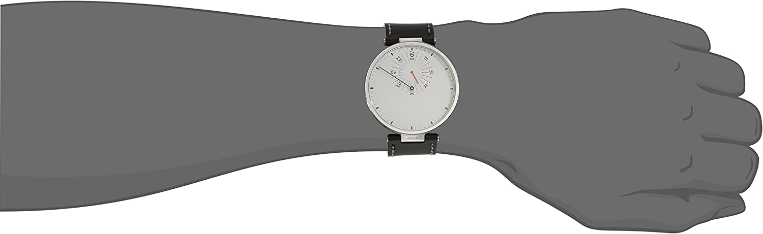 Alessi Men s AL18000 Tanto X Cambiare Stainless White Watch with Black Leather Strap