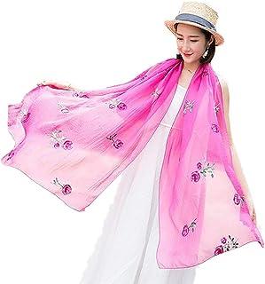 Yunzee Women's Cotton Scarf Embroidered Lightweight Shawl Wrap 70.8735.43inch