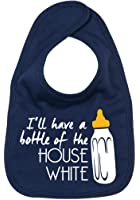Dirty Fingers, I'll have a bottle of the House White, Boy Girl Feeding Bib, Navy