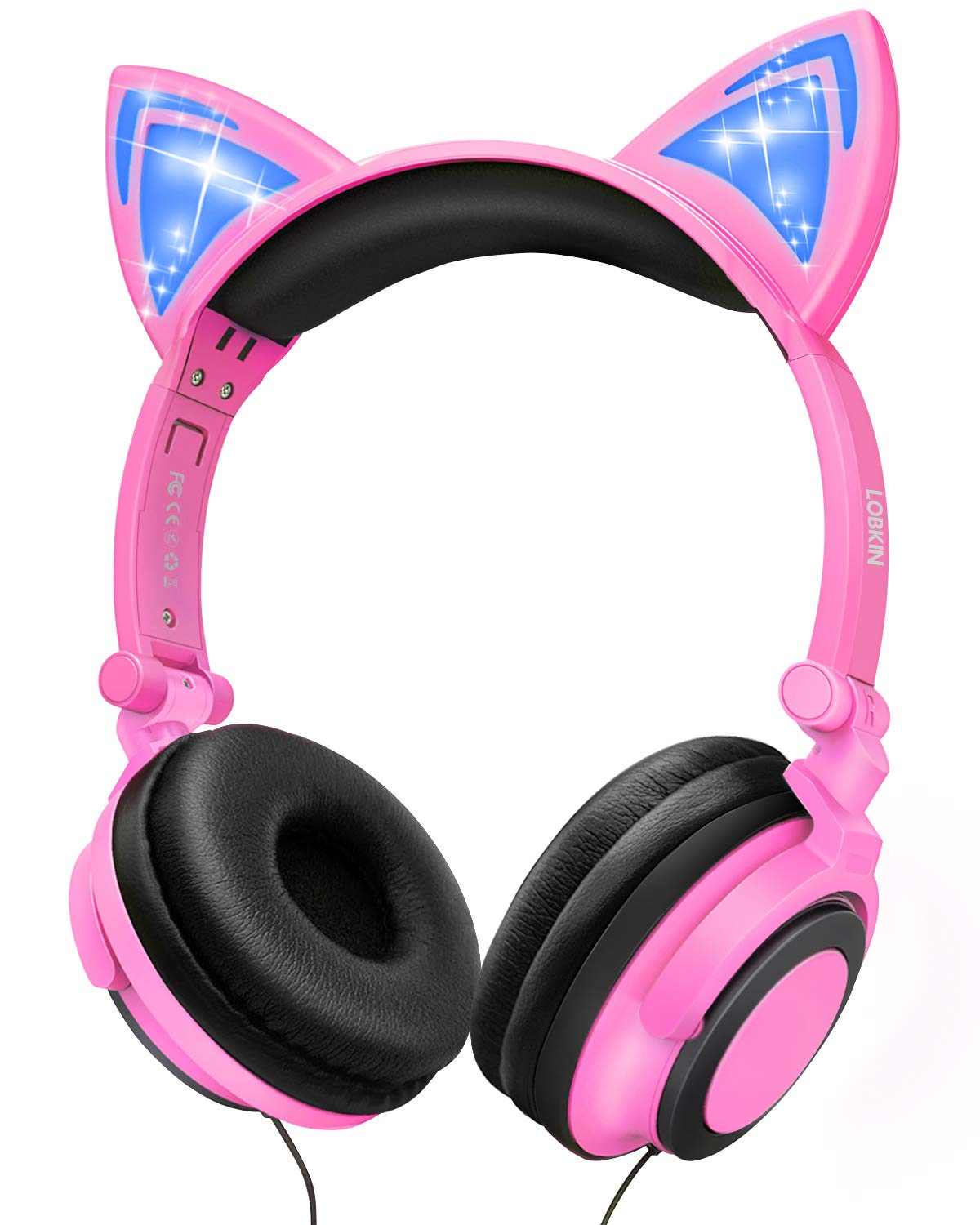 Kids Headphones with Cat Ear,Lobkin Wired Headphones Over Ear for Children,Foldable Headphone with Glowing Light for Kindle Fire, Samsung, iPad Tablets (Pink)