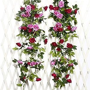 JUSTOYOU Artificial Rose Vines Flowers Garland Hanging Silk Rose Vine Wedding Home Office Arch Arrangement Decoration 2PCS 15.8FT 40