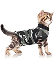 Suitical Recovery Suit for Cats in Black Camo. Professional alternative to the Cone of Shame. Suitable for wound and Bandage protection, Hotspots, Skin Diseases. Recommended and used by thousands of pet owners and vets worldwide.