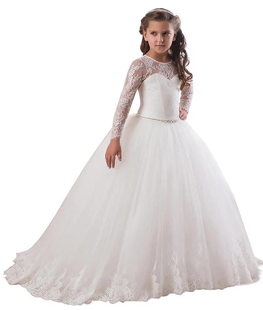 b83cb38ad ksdn niños vestido de niña de flores de encaje transparente manga larga  primera Comunión vestido,