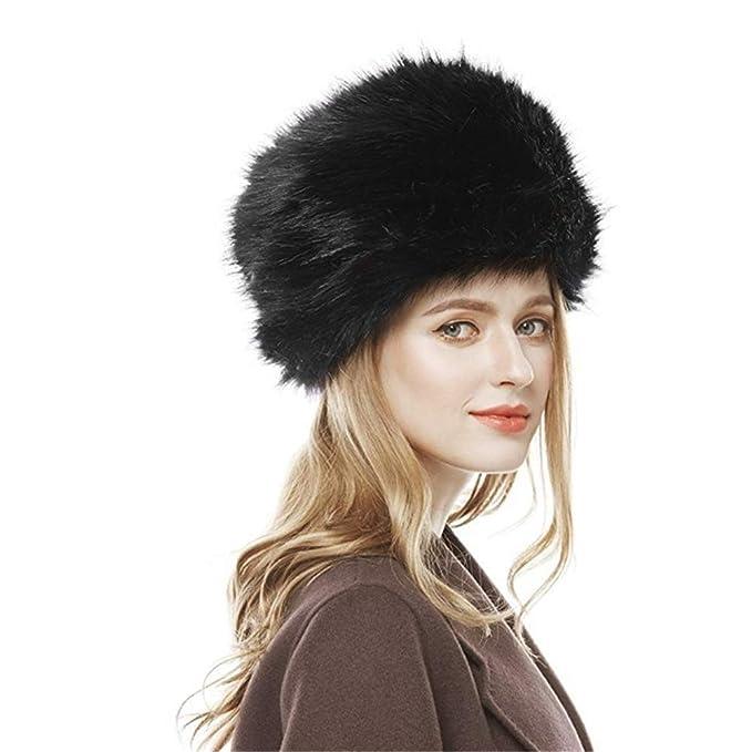 Women Black Fox Fur Hat Russian Winter Warmer Ear Cap Ushanka Cossack Ski Faux