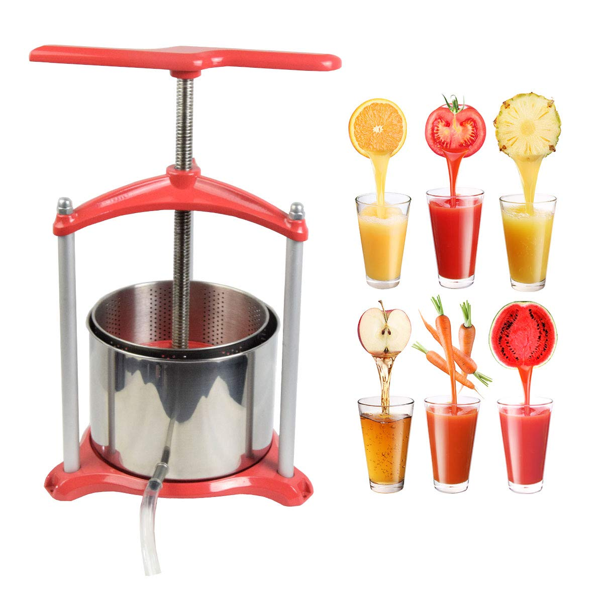 Soft Fruit Press,Grape Wine Press Stainless Steel,Vegetable Press,Wine Making Press,Juice Cider Press0.8 Gallon