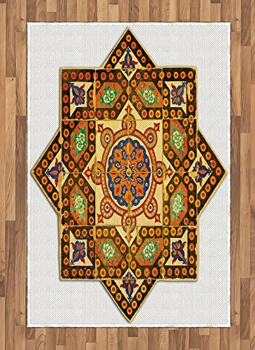 Arabian Area Rug by Ambesonne, Vintage Floral Geometrical Pattern with Turkish Ottoman Calligraphic Art Boho Print, Flat Woven Accent Rug for Living Room Bedroom Dining Room, 4 x 6 FT, Multicolor by Ambesonne