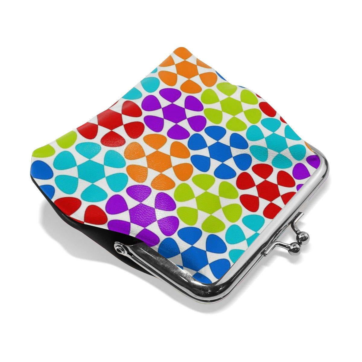 Poream Multi-colored Flower Pattern Customized Retro Leather Cute Classic Floral Coin Purse Clutch Pouch Wallet For Girls And Womens