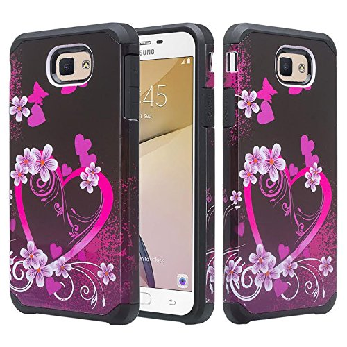 Galaxy J7v Case, Galaxy J7 Perx Case, Galaxy J7 Prime, Galaxy J7 Sky Pro Case [Impact Resistant] Hybrid Dual Layer Armor Defender Protective Case Cover for Galaxy Halo - Hot Pink Hearts