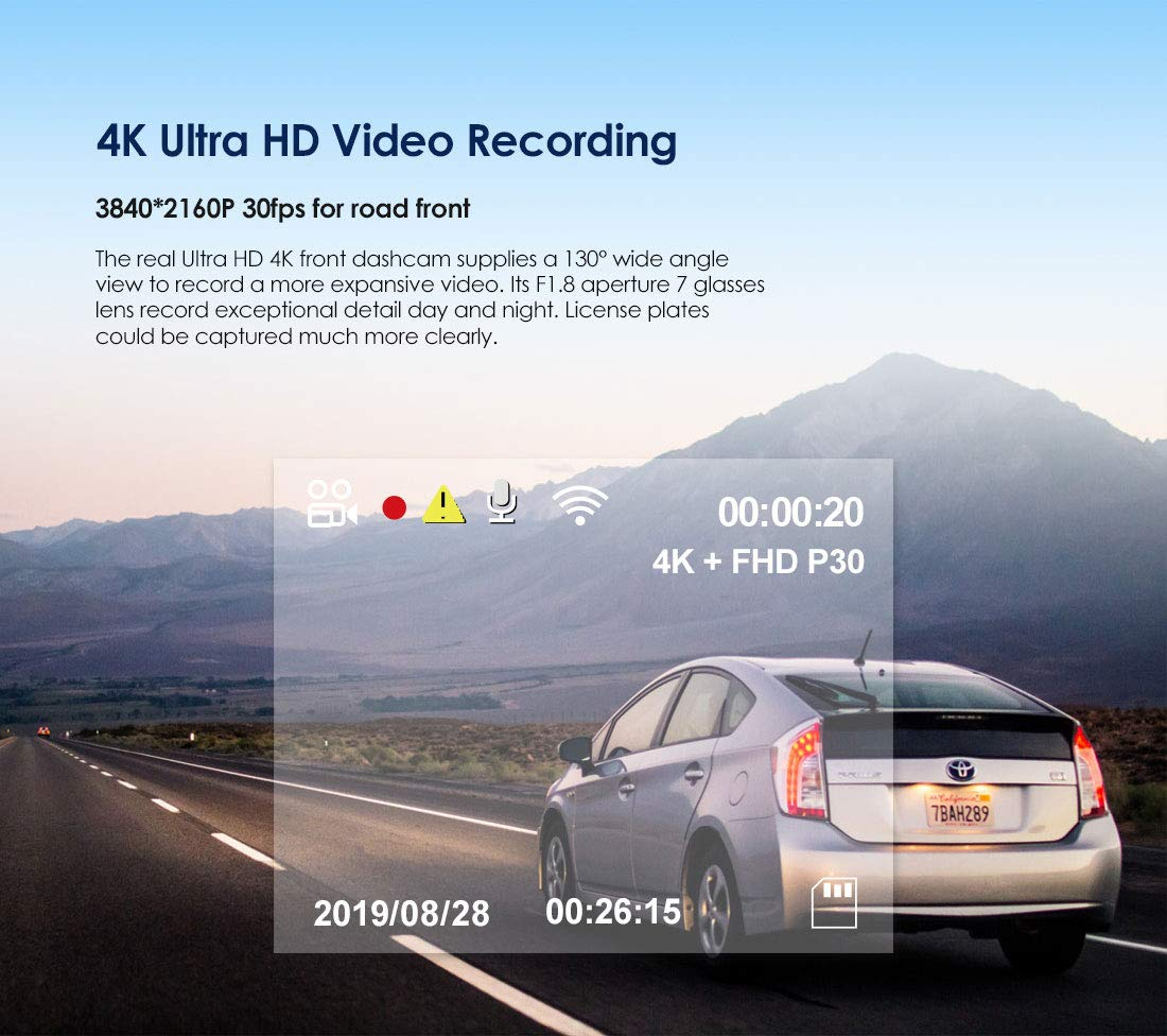 Motion Detection Buffered Parking Mode WDR VIOFO A129 Pro 4K Dash Cam 3840x2160P Ultra HD 4K Dash Camera Sony 8MP Sensor GPS Wi-Fi G-Sensor Loop Recording