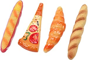 Vanki Set of 4- Funny Pizza, Bread, Hot Dog & Croissant Pen Ball-Point Pen with Magnet