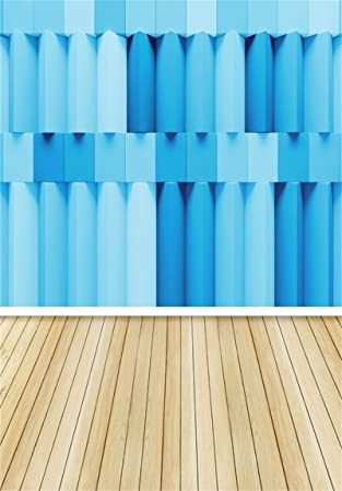 AOFOTO 5x3ft Light Blue Wooden Floor Photography Backdrop for Kids Yellow Slipper Kids Children Adults Newborn Baby Photographic Studio Photo Background Photo Booth Props