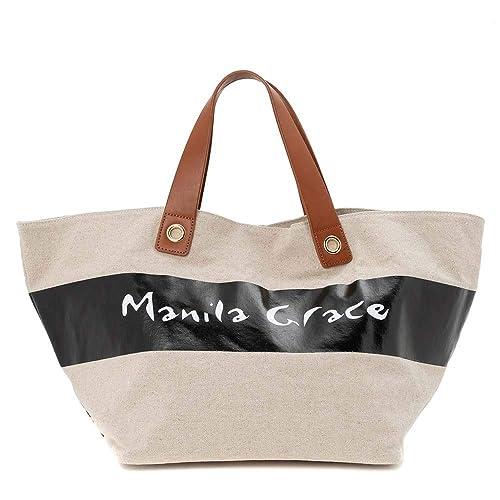 Manila Grace Bolsa Shopper Tela Beige: Amazon.es: Zapatos y ...