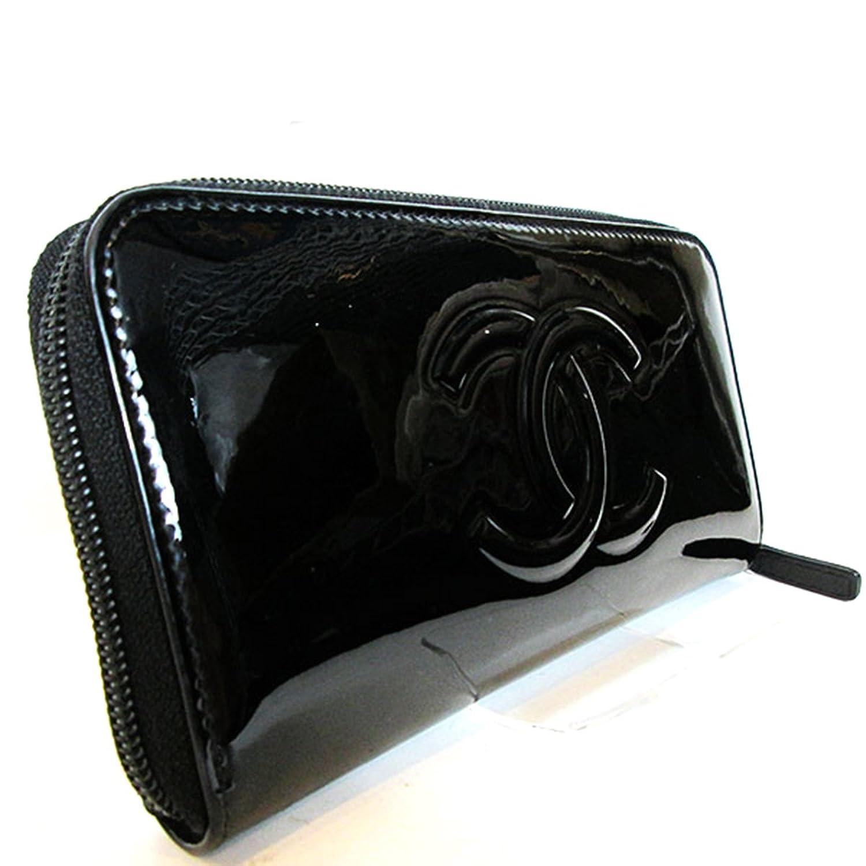 (シャネル) CHANEL ラウンドファスナー 長財布 エナメル カメリア メイクパレット ココマーク ブラック レディース 中古 B01M687YUH
