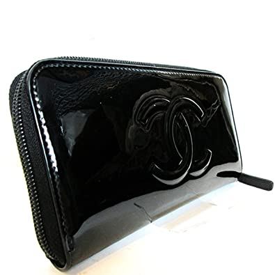2a9743444571 (シャネル) CHANEL ラウンドファスナー 長財布 エナメル カメリア メイクパレット ココマーク ブラック レディース
