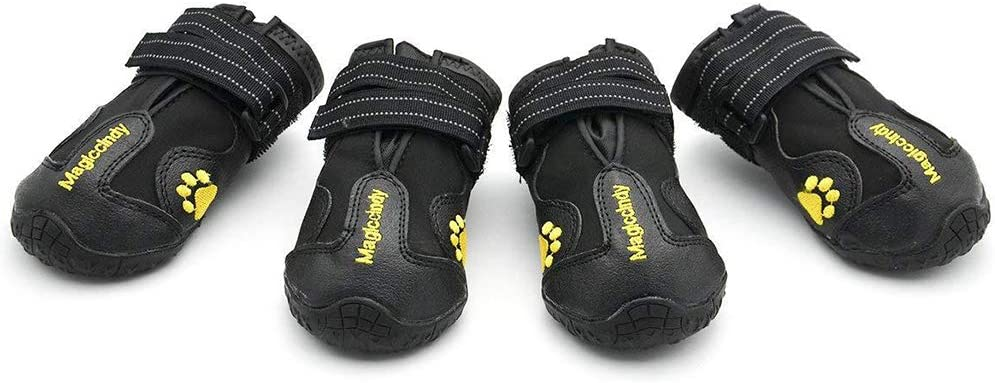 POPETPOP 4 Piezas Botas Calientes para Mascotas, Botas de Nieve Antideslizantes de Invierno para Perros, Calzado Impermeable para Caminar o Hacer Trekking - Talla 2 (Negro)