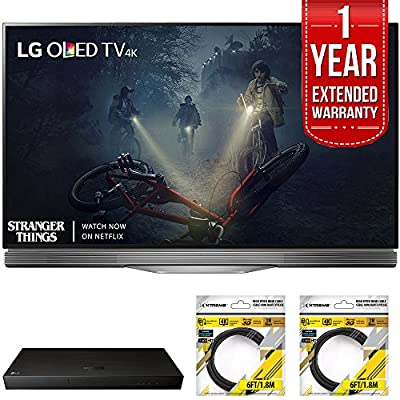 LG E7 OLED 4K HDR Smart TV 2017 Model with LG 4K Ultra-HD Blu-ray Player with Multi HDR, 1 Year Extended Warranty & 2x General Brand 6ft High Speed HDMI Cable