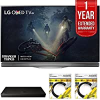 LG 55 E7 OLED 4K HDR Smart TV 2017 Model (OLED55E7P) with LG 4K Ultra-HD Blu-ray Player with Multi HDR, 1 Year Extended Warranty & 2x General Brand 6ft High Speed HDMI Cable