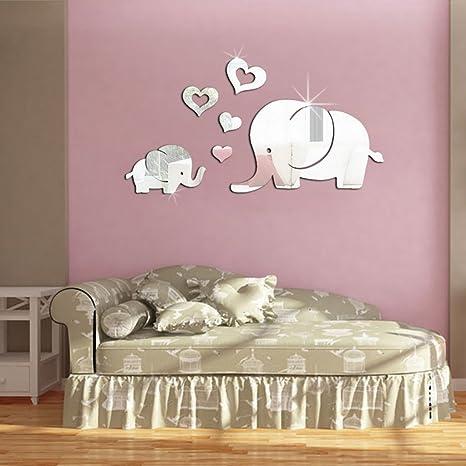 Amazon.com: Wrisky 3D Mirror Love Elephant Vinyl Removable Wall ...