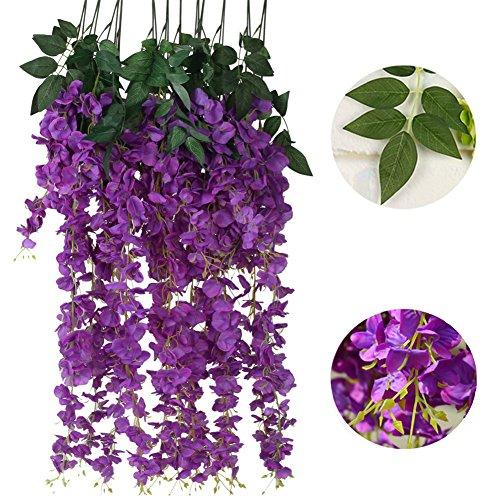 Tenchif 6PCS 3.2 Feet Artificial Flowers Fake Wisteria Vine Silk Flower for Wedding Decorations Home Garden Party Decor