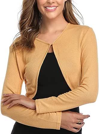 Aranmei Women Long Sleeve Bolero Shrug Knit Cropped Knitwear Cardigan Sweater Shrug