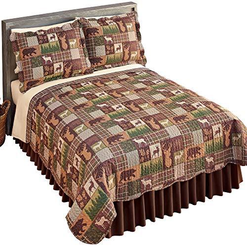Buy Bargain Collections Etc Bear, Deer, Moose Silhouette Patchwork Quilt Green Multi Full/Queen