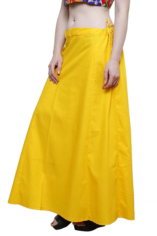 CRAFTSTRIBE Saree Petticoat Solid Inskirt Underskirt Women Sari Innerwear Yellow Skirt