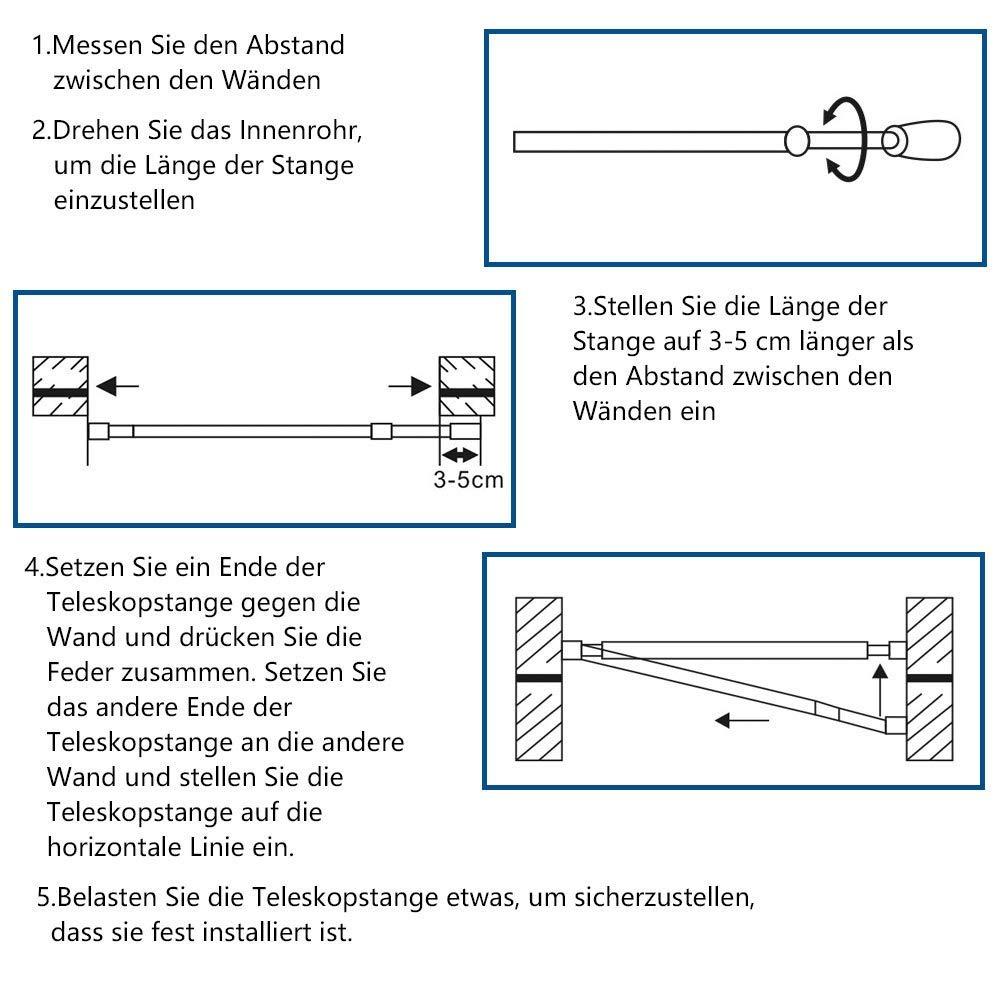 SimpleHome Barra para Cortinas de Ducha Barra telesc/ópica Extensible para Instalar sin Taladro Soporte para Cortinas de ba/ño de tama/ño Corto y de Acero 155cm-260cm