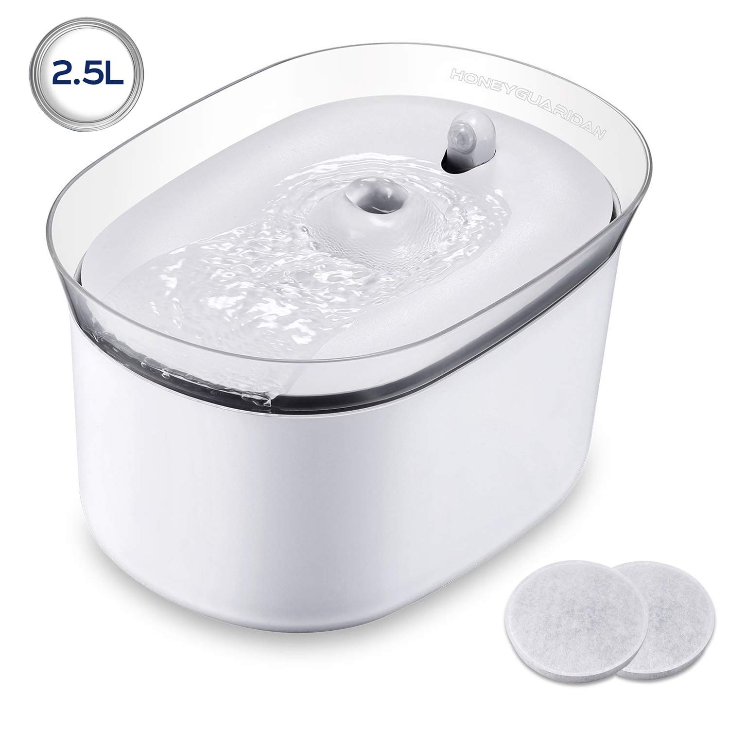 HoneyGuaridan Pet Drinking Water Fountain, Super Quiet Automatic Cat Water Dispenser with 2 Replacement Filters for Dogs, Cats, Birds and Small Animals