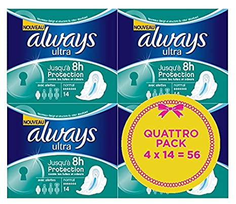 Always - Ultra - Toallas sanitarias - 14 piezas x 4 unidades: Amazon.es: Belleza
