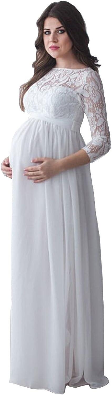 Mingxuerong Mutterschaft Hochzeitskleider Lange /ärmel Schwangere Brautkleider Spitze Chiffon f/ür Preganant Frauen