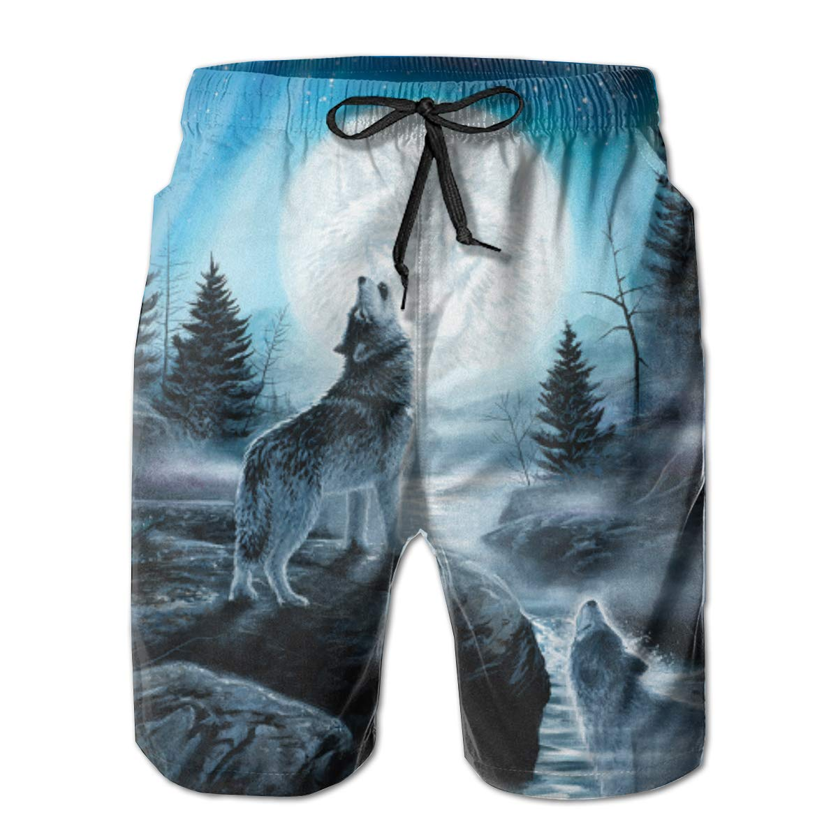 WWT Resentment of The Wolf Mens Quick Dry Beach Shorts with Mesh Lining//Side Pockets