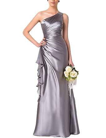 a181f6f73568 YIRENWANSHA One Shoulder 2018 Bridesmaid Dresses Ruffled Of The Body Empire  Waist Formal Evening Robes SHBD88