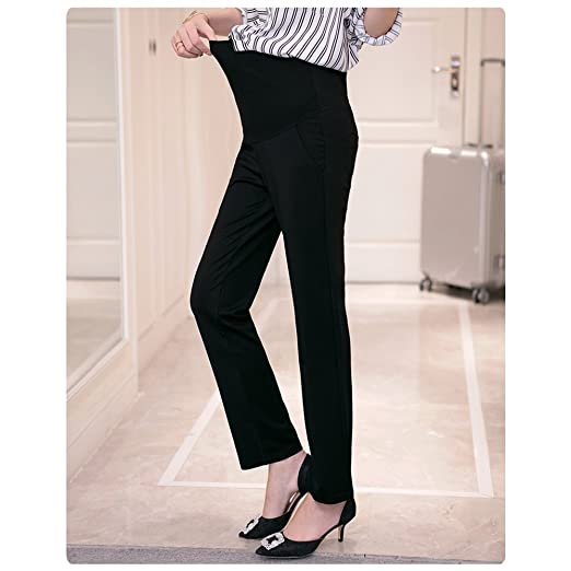 KINDOYO Womens Summer Casual Maternity Trousers Cotton High Waist Elasticity Over Bump Office Work Pregnancy Pants
