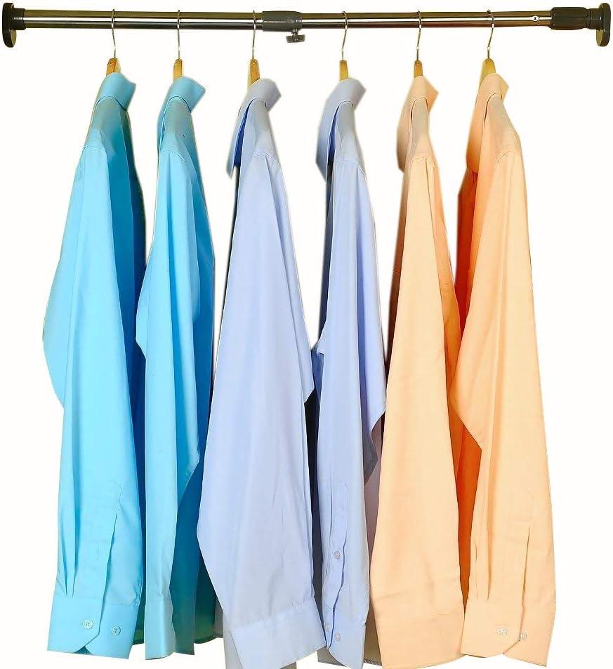 BAOYOUNI 25.4mm Adjustable Shower Curtain Rod Tension Rail for Bathroom Wardrobe Kitchen Balcony (Grey, 28-47 Inches)