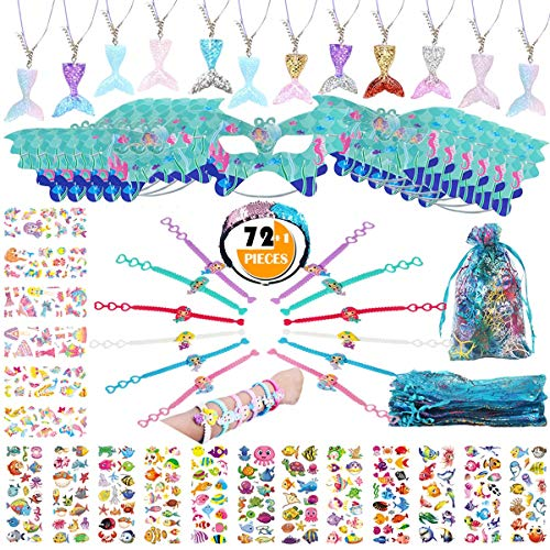 (Mermaid Party Favors Supplies,73PCS Girl Gift Bag w/Mermaid Tail Necklace Bracelet Mask Headband Sticker for Goodie Bag Filler for Birthday Party, Perfect Mermaid Party Gift Camp Prize for 12 Kids)