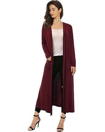 41cc533319 Mixfeer Womens Long Sleeve Open Front Long Maxi Cardigan Longline Duster  Coat at Amazon Women s Clothing store