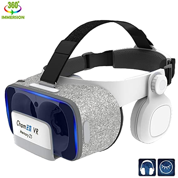 9814fe67757 Phone VR Headset with Headphones Eye Protected Movies   Games Virtual  Headset Reality Glasses for Myopia